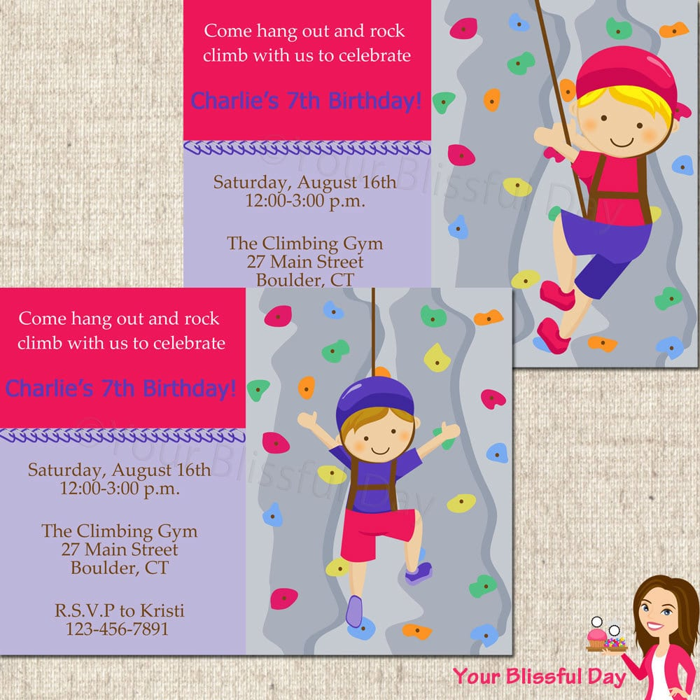 Printable Boy Rock Climbing Party Invitations Character Of