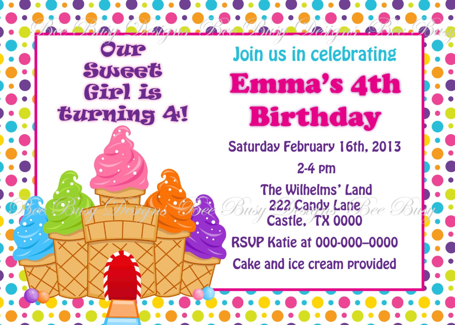 Printable Candyland Candy Castle Birthday Party Invitation