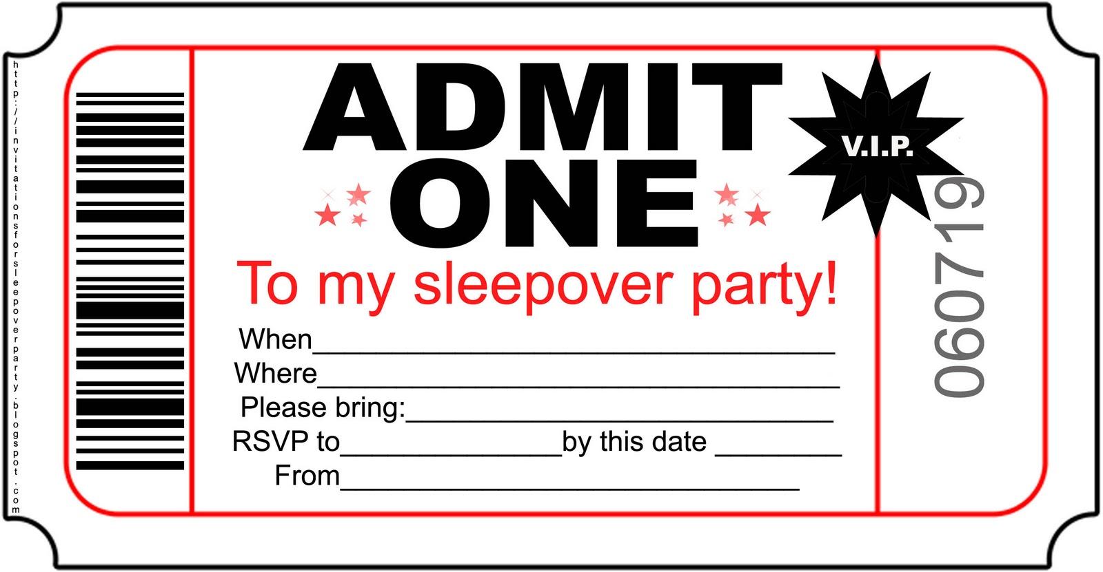 Printable Chalkboard Sleepover Ticket Birthday Invitation
