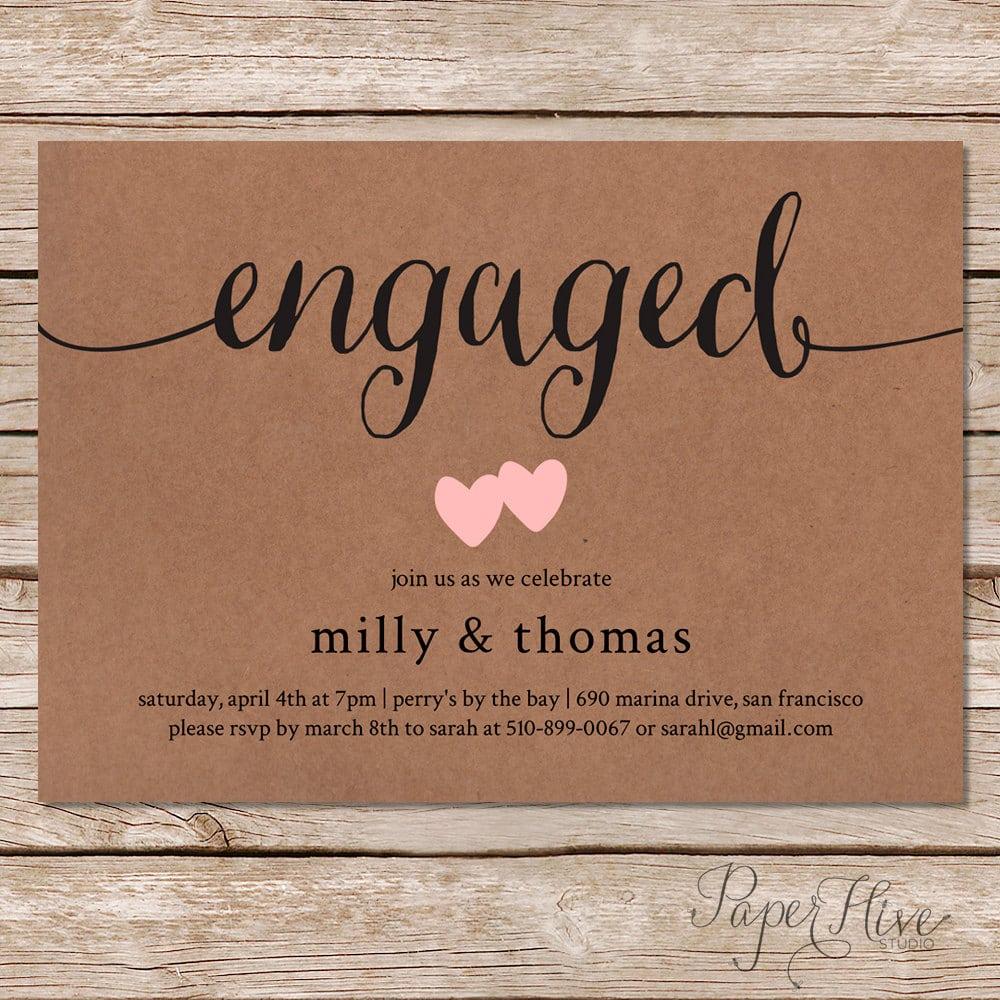 Printable Engagement Party Invitation   Rustic Wedding   Kraft