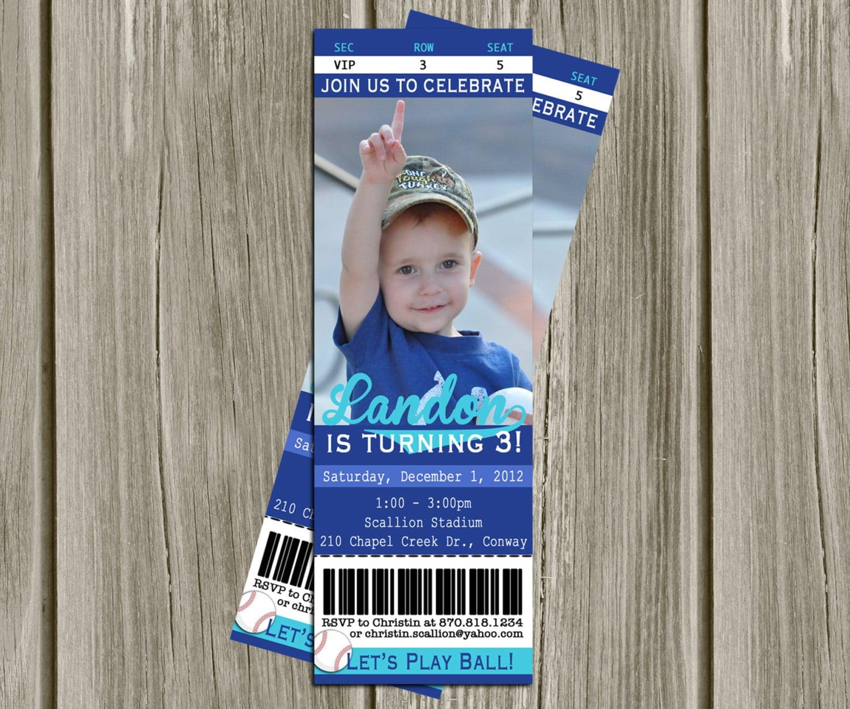 Printable Invitations Baseball Game Ticket Birthday Party
