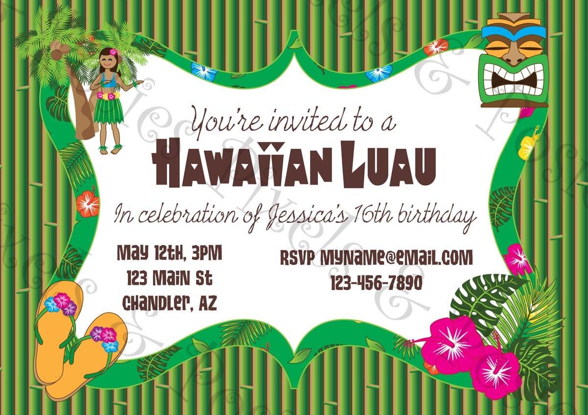 Printable Luau Invitation Clipart