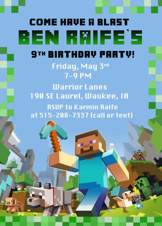 Printable Minecraft Party Invitations