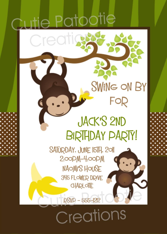 Printable Mod Monkey Birthday Photo Invitation