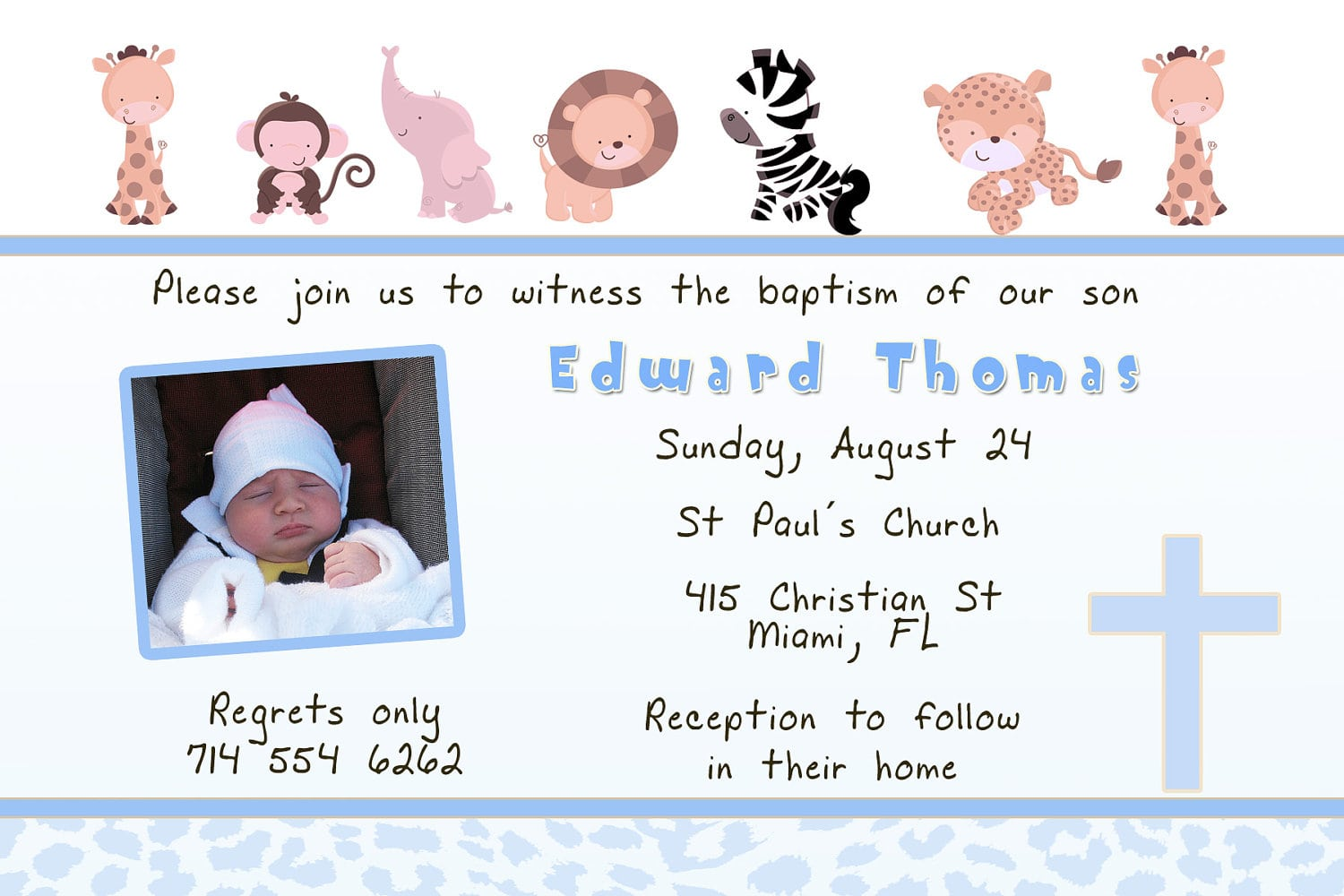 Printable Personalized Baptism Christening First Communion