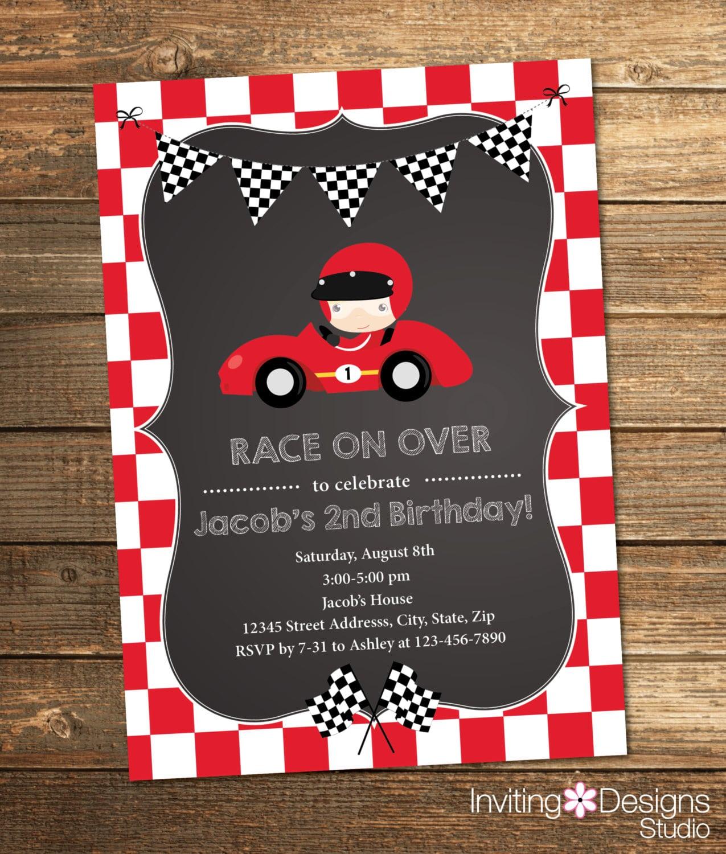 Printable Race Car Birthday Party Invitation   Choose Your Hair
