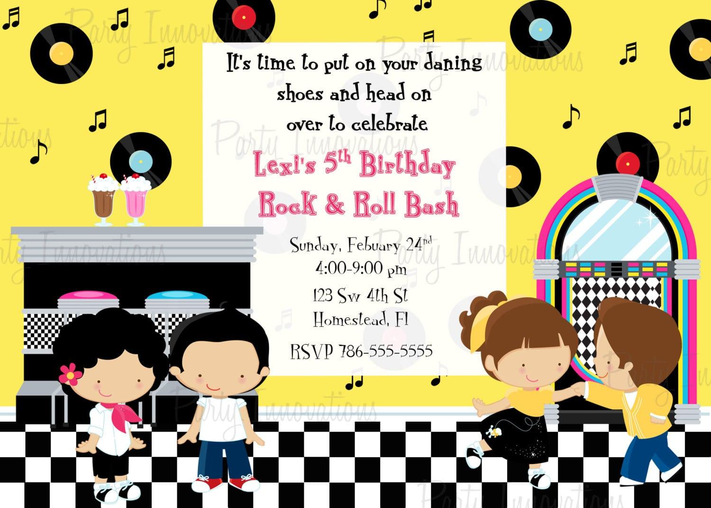 Printable Sock Hop 50's Birthday Party Invitation Plus