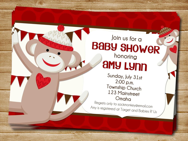 Printable Sock Monkey Baby Shower Invitations