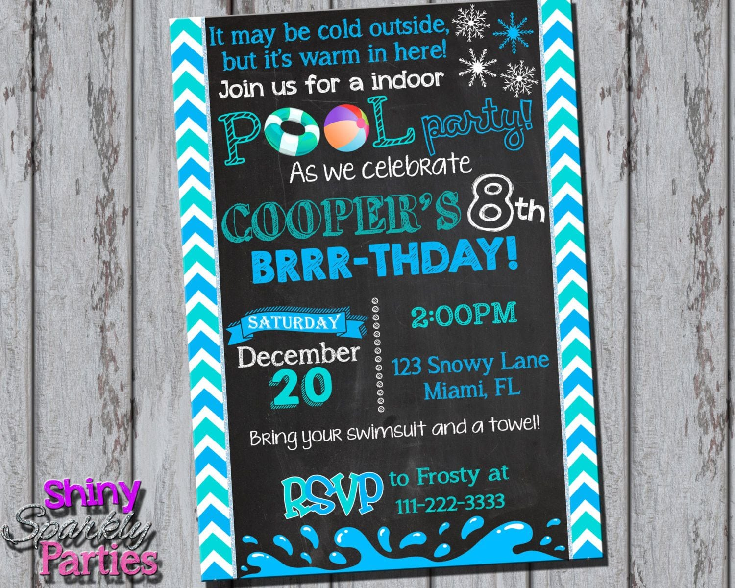 Printable Winter Pool Party Invitation (digital File Only