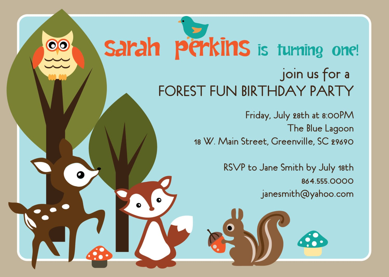 Printable Woodland Birthday Party Invitation Animals
