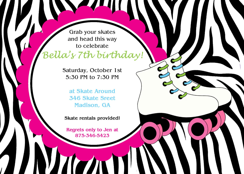 Printable Zebra Print Skate Party Invitation