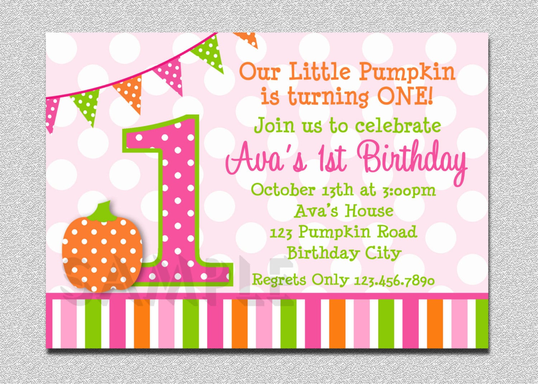 Pumpkin Birthday Invitation Polka Dot Pumpkin 1st Birthday