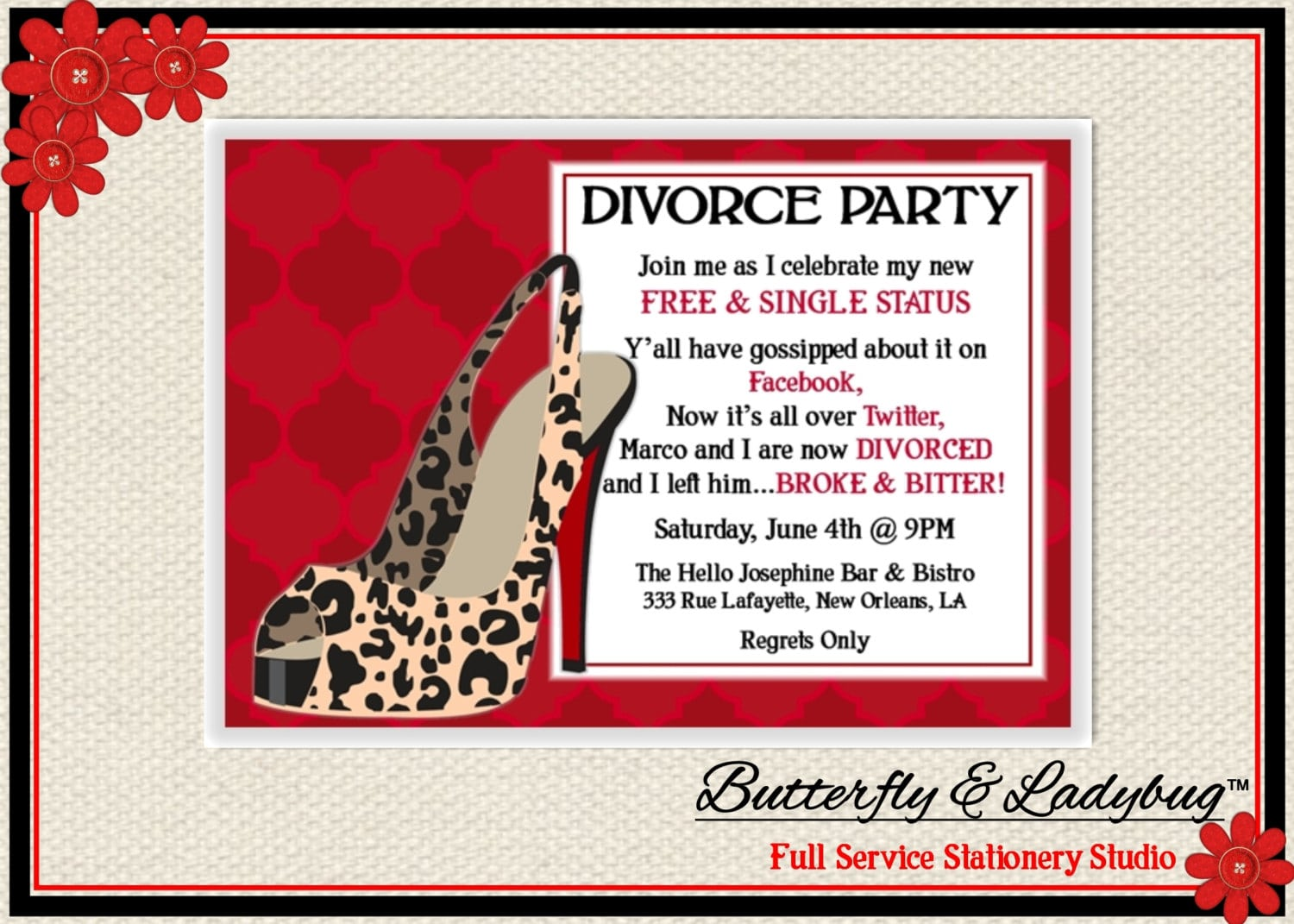 Divorce Party Theme Free Printable Invitation Design