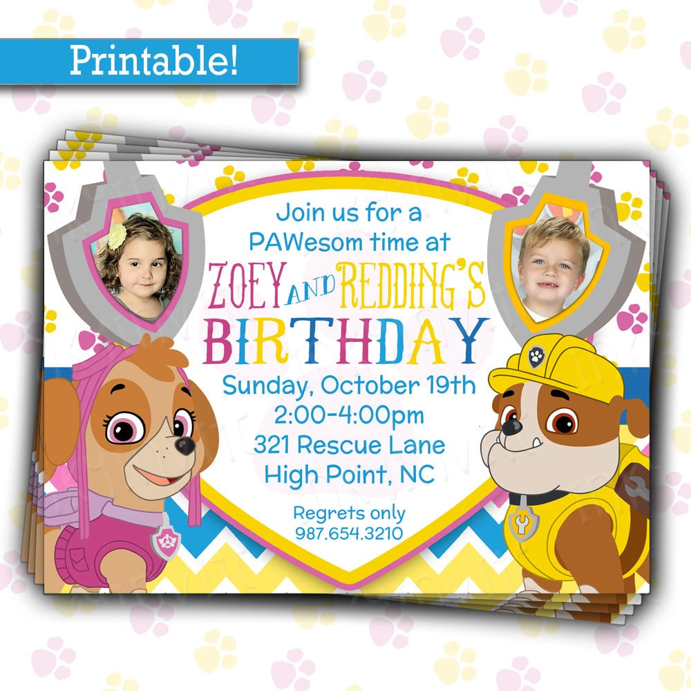 Pup Patrol Birthday Party Invitation Twins Or Siblings Joint