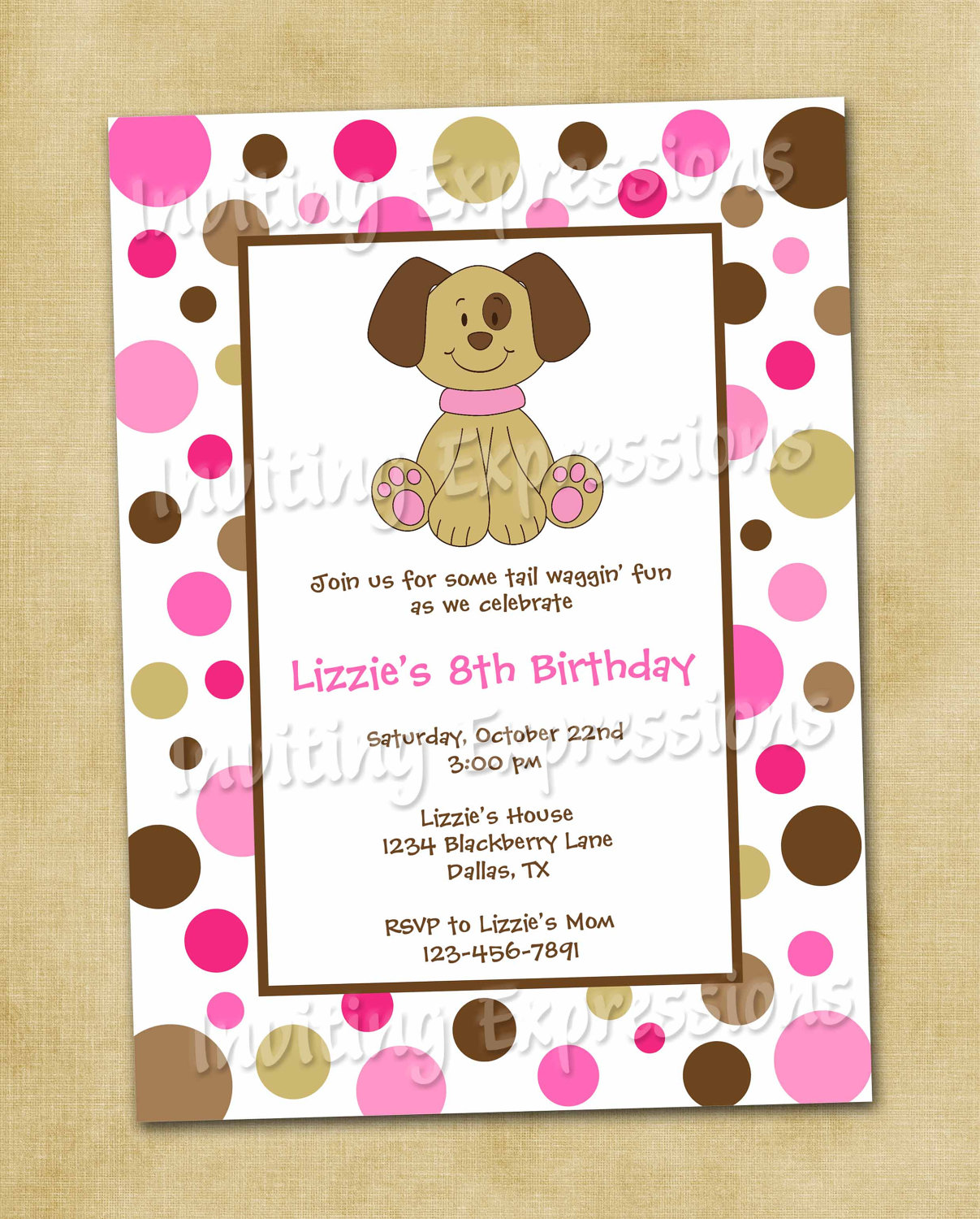 Puppy Birthday Party Invitations