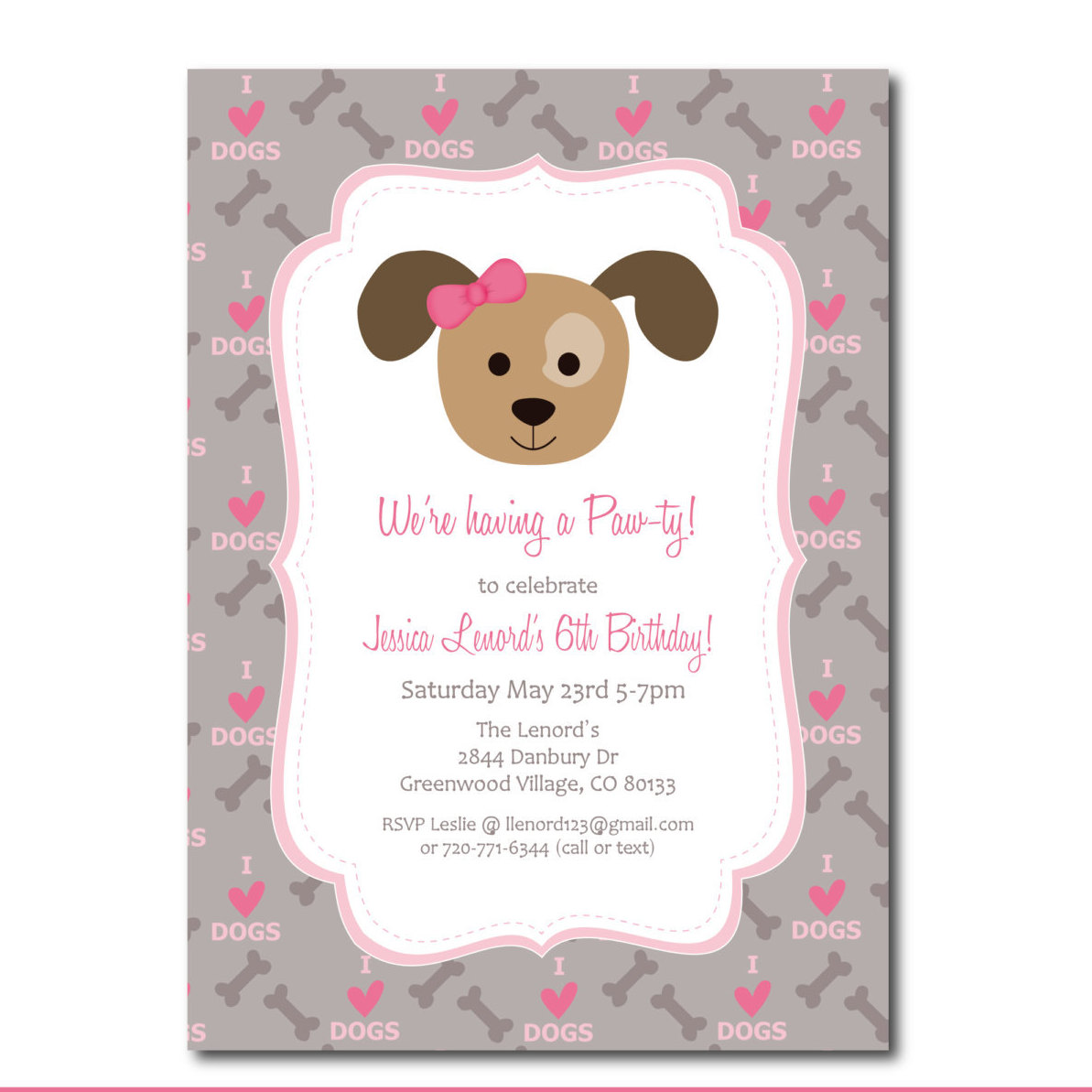 Puppy Party Invitation With Editable Text Dog Party By Punkyprep