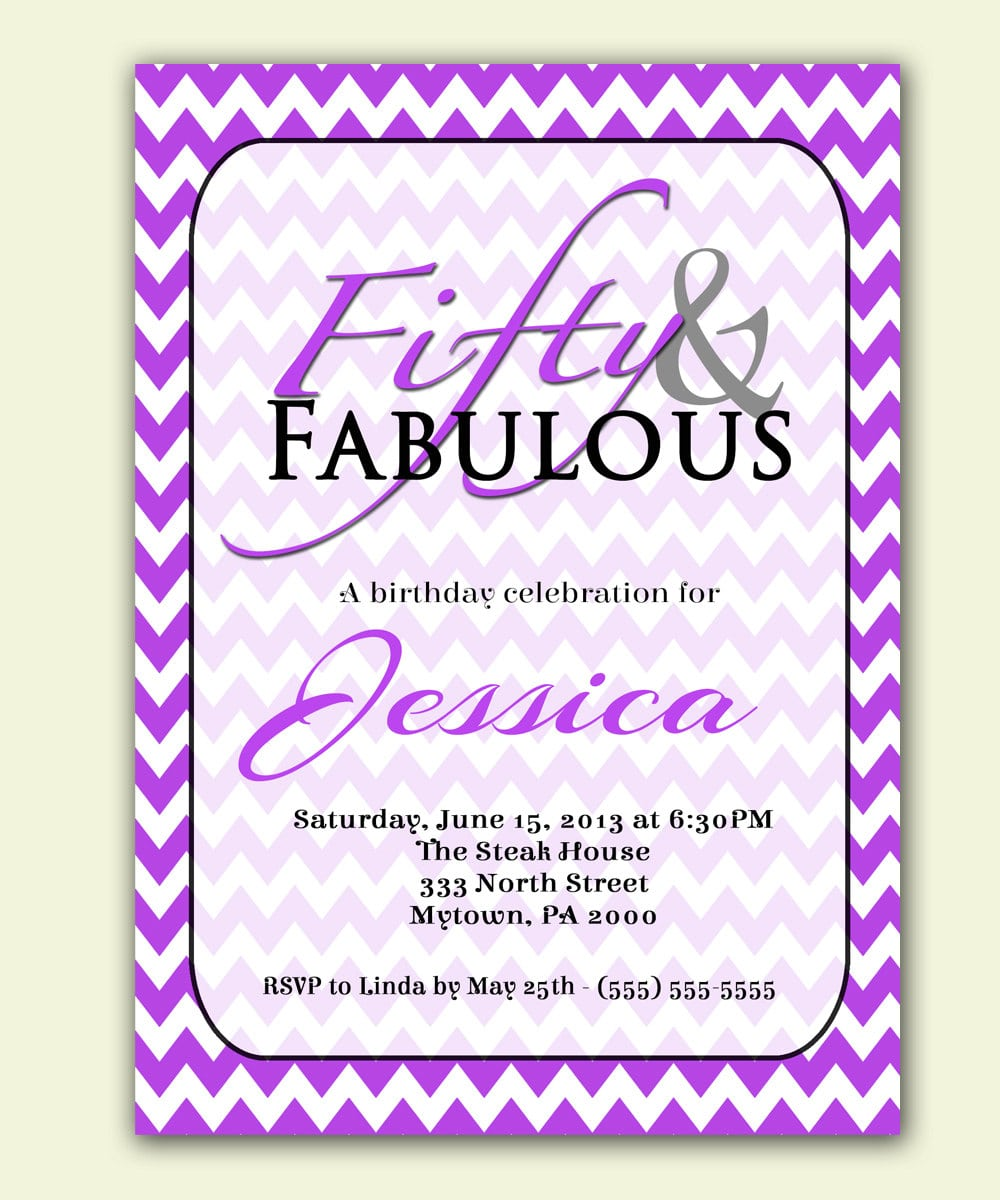 Purple 50th Birthday Invitation Fifty And Fabulous Purple
