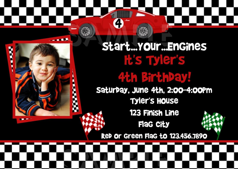 Race Car Birthday Invitation Race Car Birthday Party Invitation