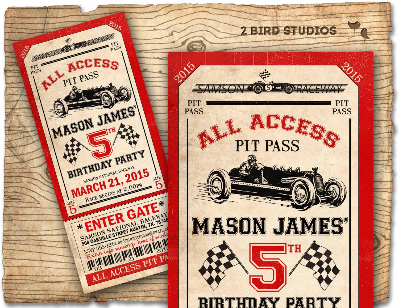 Race Car Birthday Invitation Race Car Party Ticket