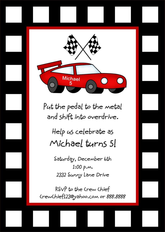 Race Car Birthday Invitations – Gangcraft Net