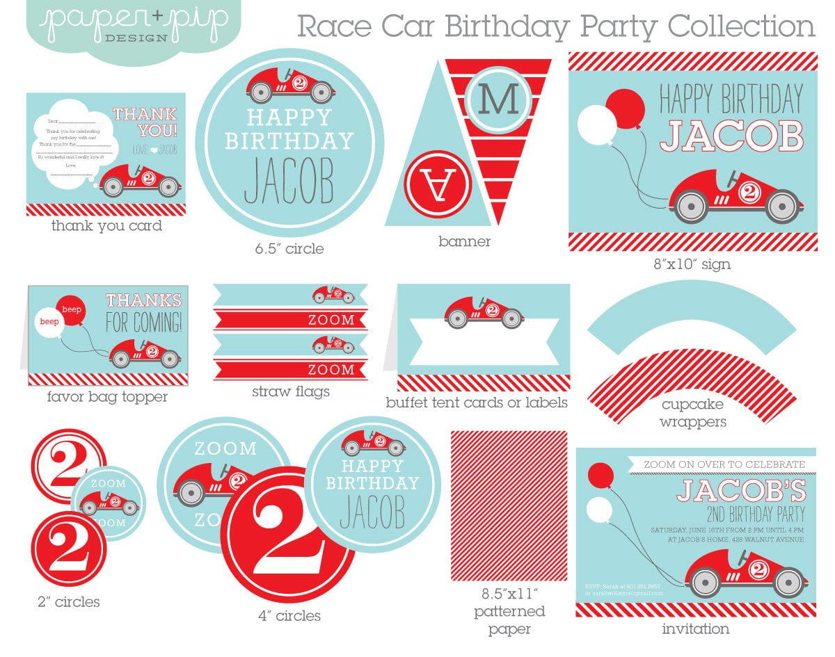 Race Car Birthday Party Decorations & Invitation Printable