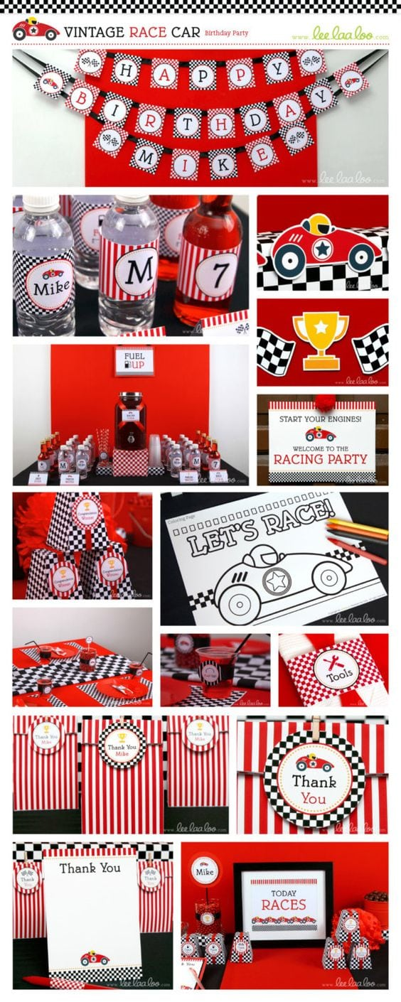 Race Car Birthday Party Invitation Personalized Printable