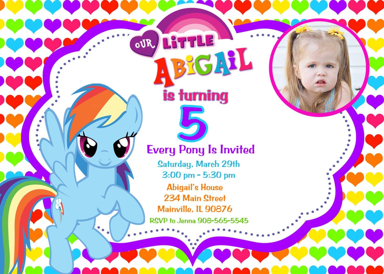 Rainbow Design My Little Pony Birthday Party Invitation Custom
