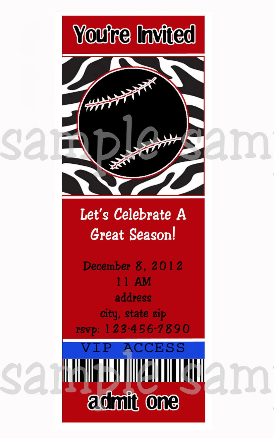 Red Zebra Baseball Summer Party Invitation On End Year