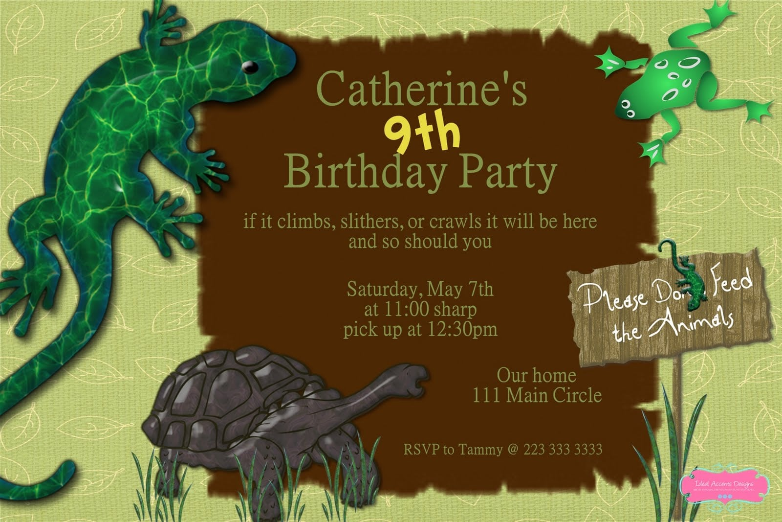 Reptile Birthday Party Invitations