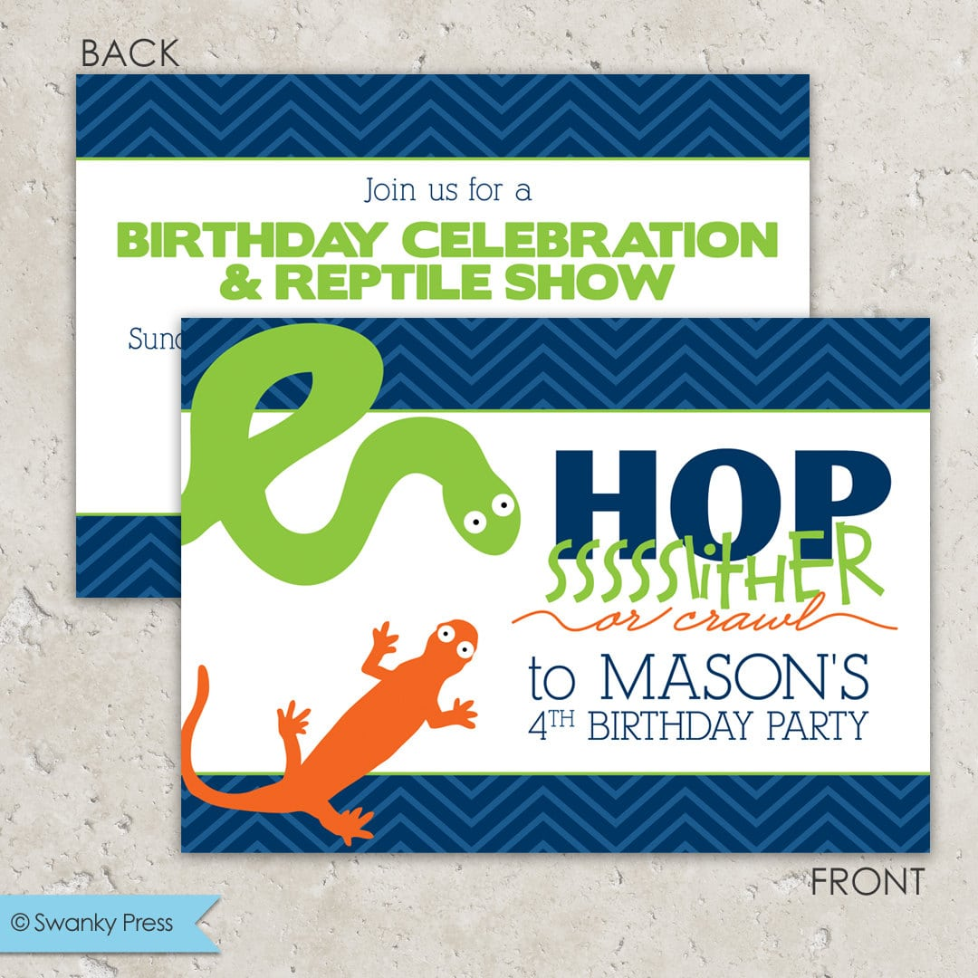 Reptile Party Invitations Snake And Lizard Snake By Swankypress