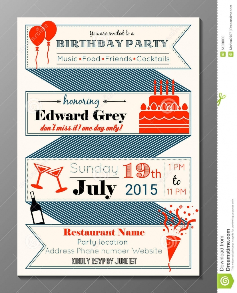 Retro Birthday Party Invitations Carnival Party Printables Round