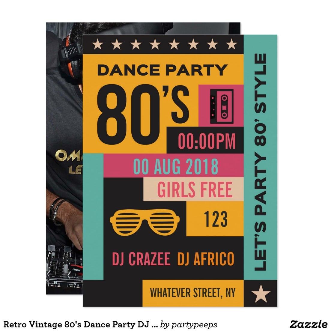 Retro Vintage 80's Dance Party Dj Club Invitation
