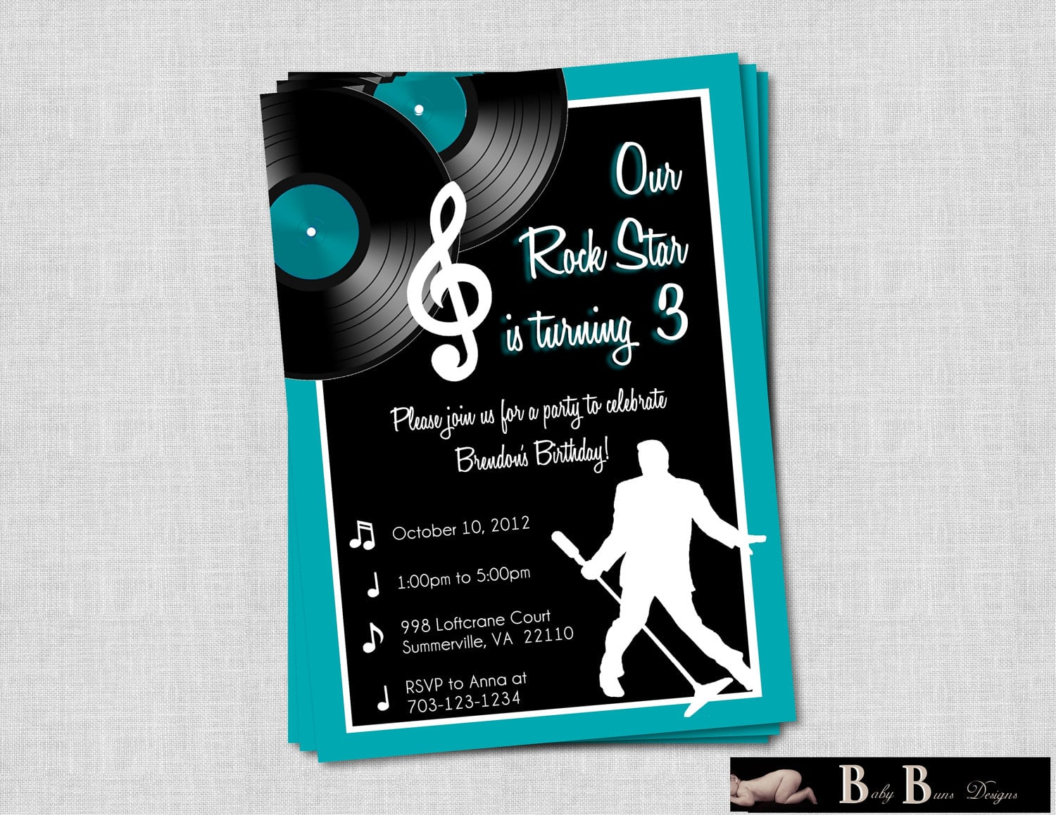 Rock & Roll Music Birthday Party Invitation By Babybunsdesigns