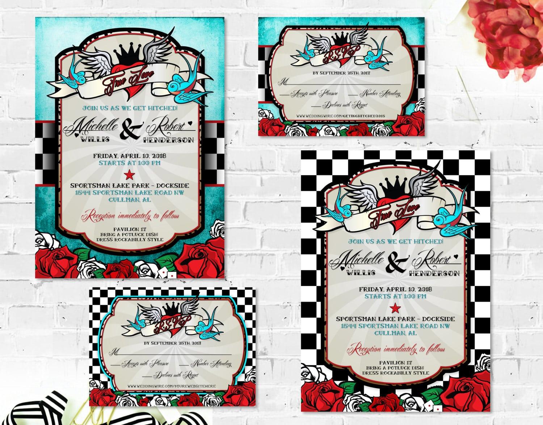 Rockabilly Wedding Invitations Set With Rsvp Card Printable