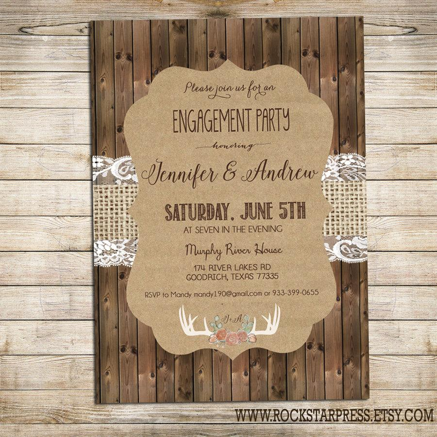 Rustic Engagement Party Invitation, Rustic Wedding Shower