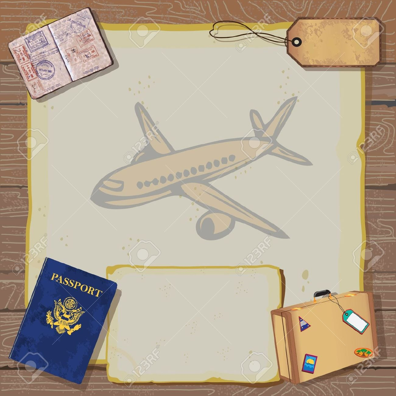 Rustic Vintage Bon Voyage Party Invitation With Passport, Stamps