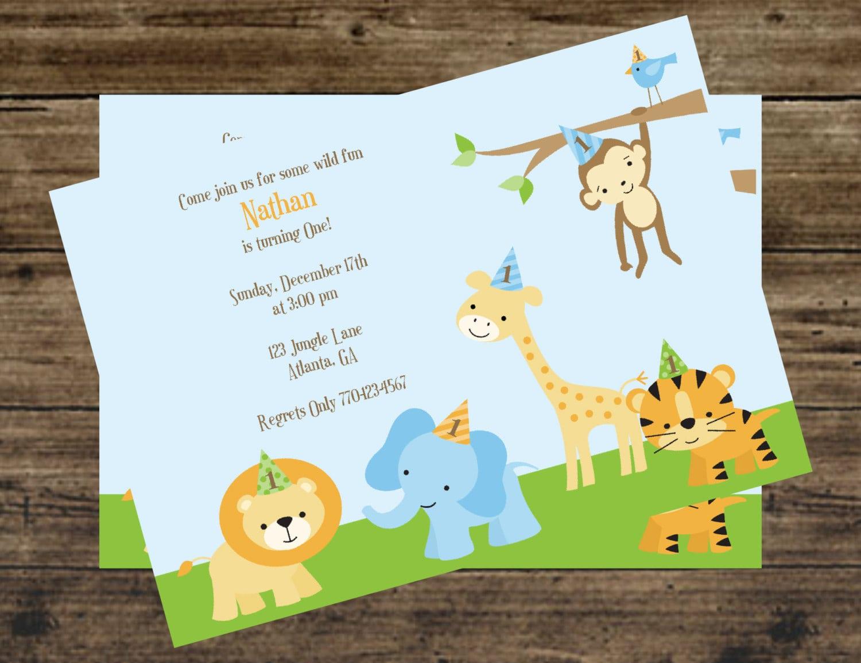 Safari, Jungle, Zoo, Animal 1st Birthday Party Invitations