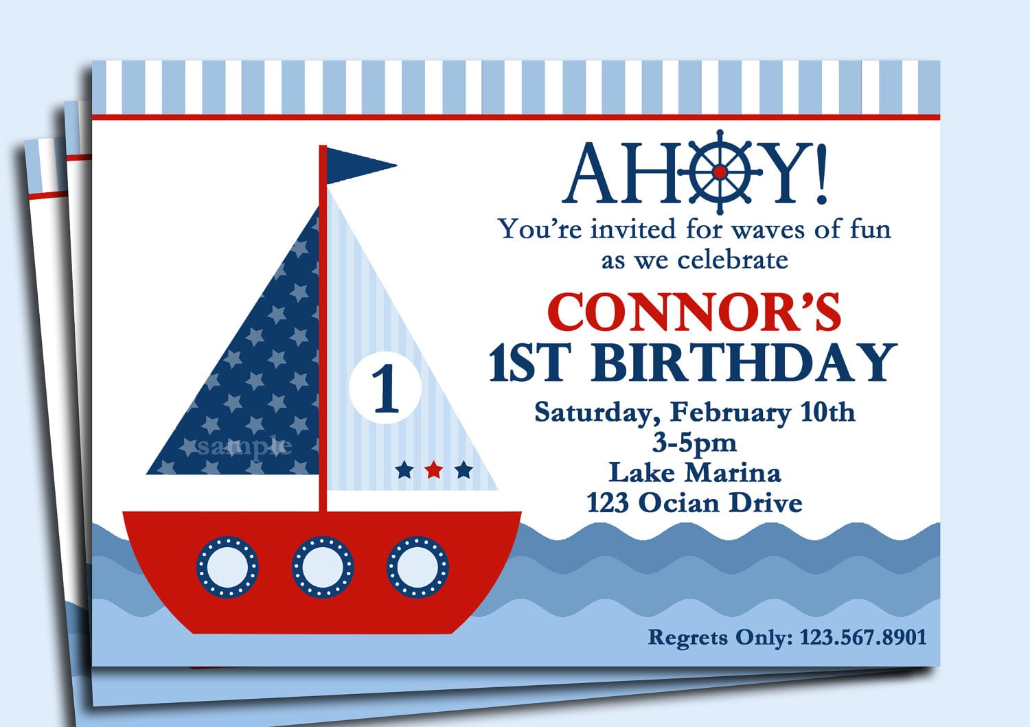 Sailboat Invitation Printable Or Printed With Free Shipping