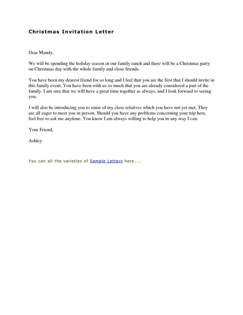 Sample Birthday Party Invitation Letter