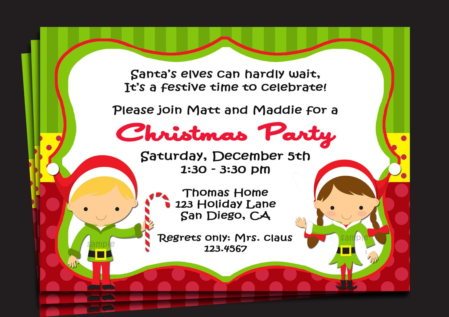 Sample Cute Christmas Party Invitations Wording With Green Polka