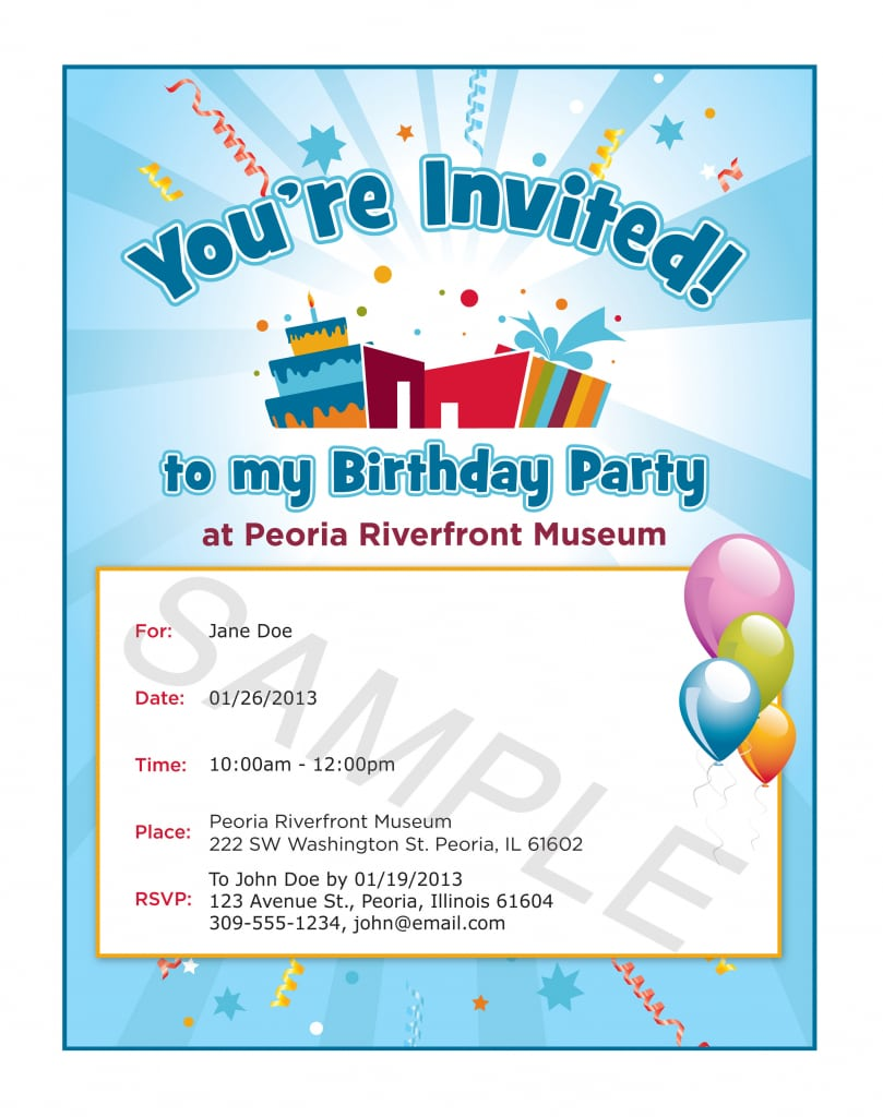 Sample Invitation For Birthday Party