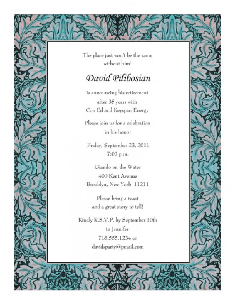 Sample Of Invitation Letter For Retirement Party