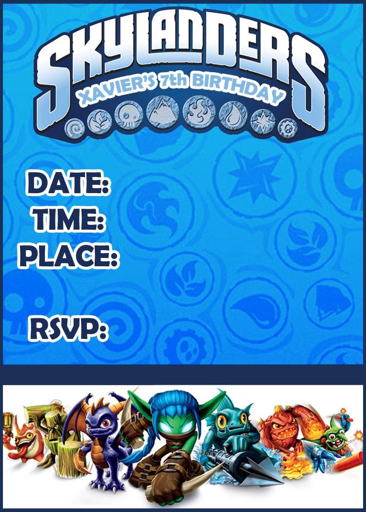 Skylander Party Invitations