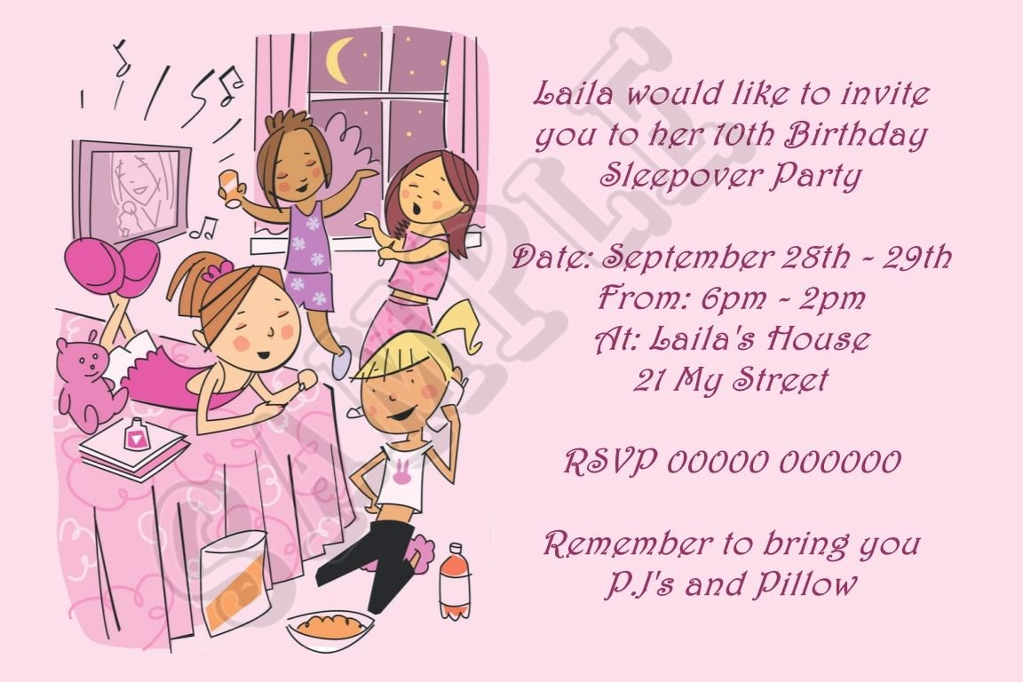Sleepover Birthday Invitations – Gangcraft Net