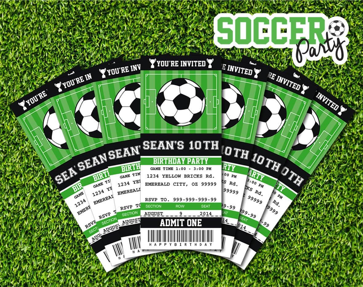 Soccer Invitation Soccer Birthday Soccer Party Ticket