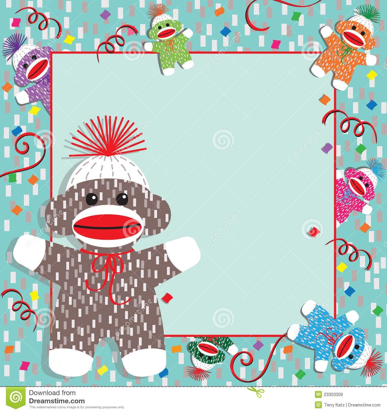 Sock Monkey Party Invitation Royalty Free Stock Photo