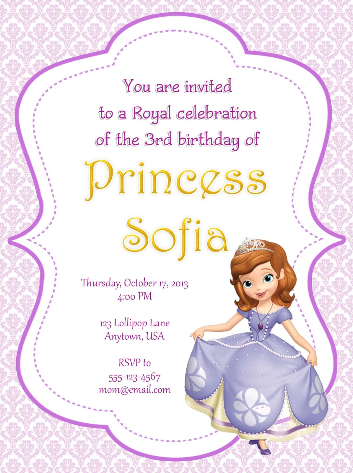 Sofia The First Party Invitations