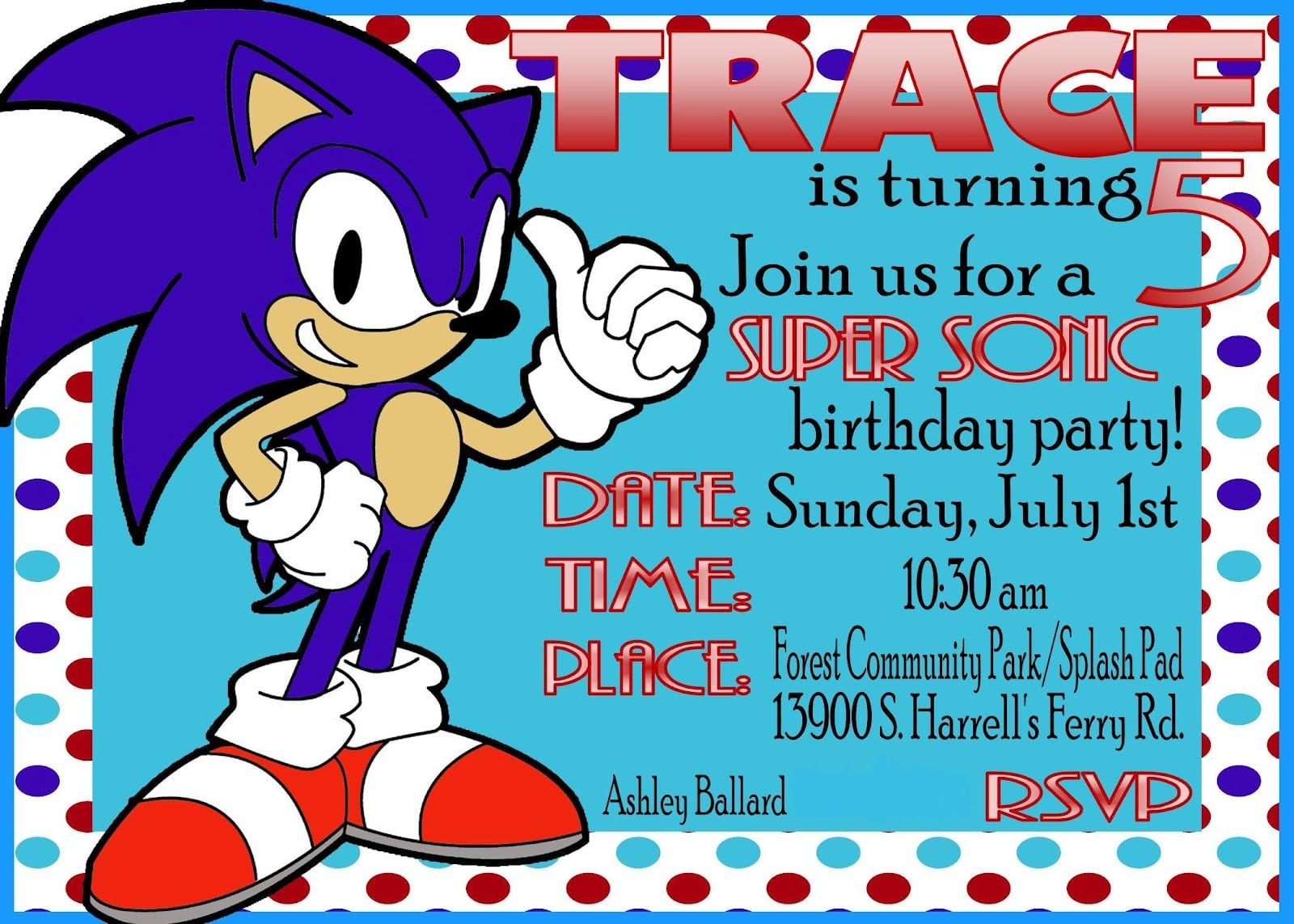 Sonic Birthday Invitations