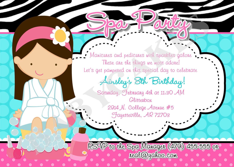 Spa Party Invitations Templates Free - Mickey Mouse Invitations ...