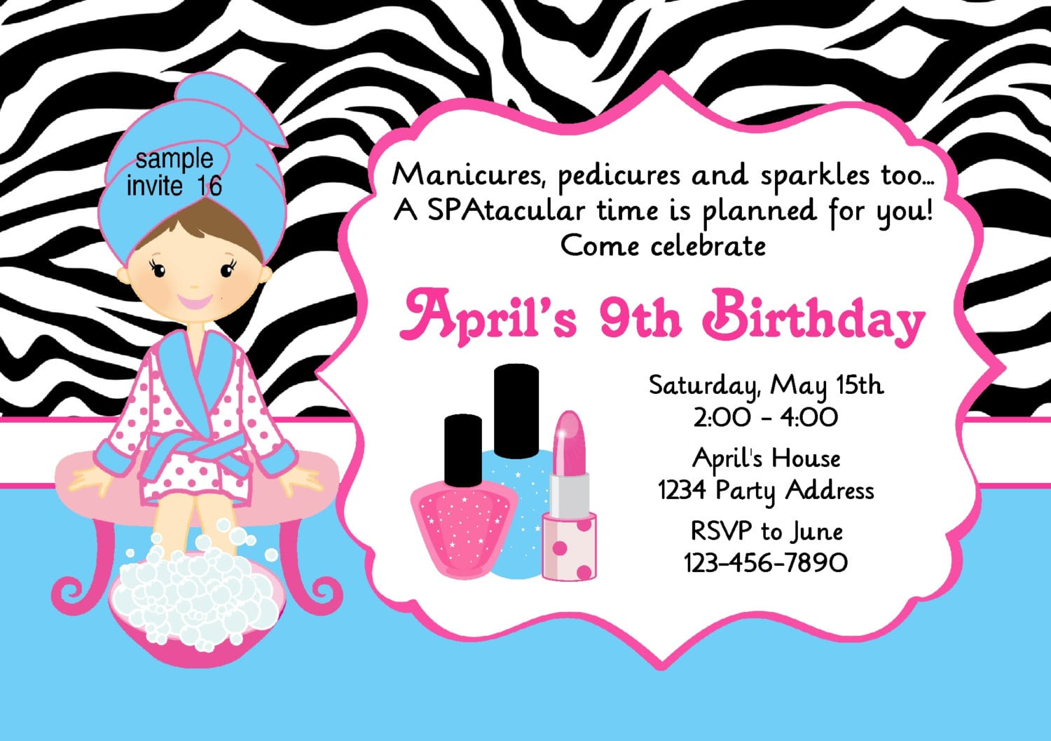 Spa Party Invitation Manicure Pedicure Makeup Birthday Party